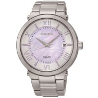 Seiko - Ladies Solar, Mother of Pearl Dial, Stainless Steel Date Watch