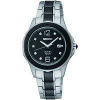 Seiko - Ladies Couture, Stone Set Dial, Stainless Steel Date Square Watch