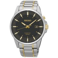 Seiko - Gents Kinetic, Two Tone with Brown Dial Date Square Watch