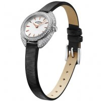 Rotary - Stone Set, Stainless Steel and Black Leather Strap Ladies Watch