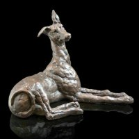 Richard Cooper - Cold Cast Bronze Walter Whippet Ornament, Size 19cm - 210BR
