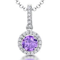 Jools - Amethyst and Cubic Zirconia Set, Silver Necklace