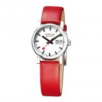 Mondaine - Ladies, Stainless Steel with Red Leather Strap Big Date Watch