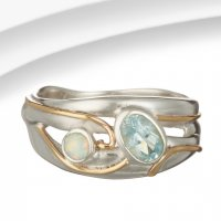 Banyan - Blue Topaz and Opalite Set, Silver Ring, Size L