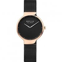 Bering - Max Rene, Stainless Steel and Rose Gold Plate Black Dial, Mesh Strap Watch