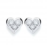 Guest and Philips - 18ct. White Gold and Diamond Heart Cluster Earrings