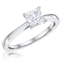 Jools - Cubic Zirconia Set, Sterling Silver - Solitaire Ring, Size L