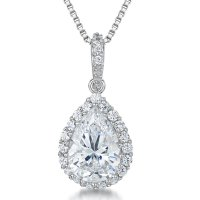 Jools - Pear Shaped Cubic Zirconia Set, Silver Necklace