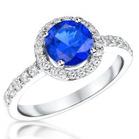 Jools - Ocean Blue Cubic Zirconia and White Cubic Zirconia Set, Silver Ring, Size I