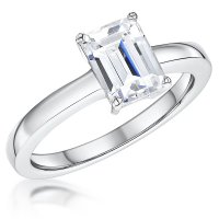 Jools - Emerald Cut Cubic Zirconia Set, Sterling Silver Solitaire Ring, Size P