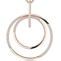 Jools - Cubic Zirconia Set, Sterling Silver, Rose Gold Necklace, Size 16""