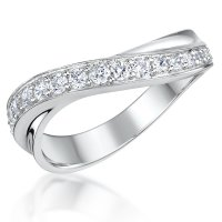 Jools - Cubic Zirconia Set, Sterling Silver Twisted Half Eternity Ring, Size N