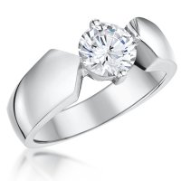 Jools - Cubic Zirconia Set, Sterling Silver Solitaire Ring, Size M