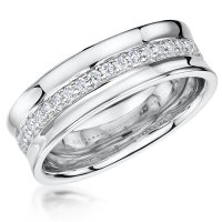 Jools - Cubic Zirconia Set, Sterling Silver Concaved Half Eternity Ring, Size N