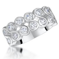 Jools - Cubic Zirconia Set, Sterling Silver 2 Row, Half Eternity Ring, Size R.5