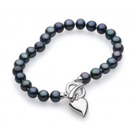 Kit Heath - Desire Lustrous Heart, Peacock Freshwater 6mm Pearl Set, T-Bar Bracelet