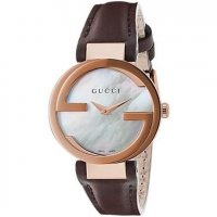 Gucci - Interlocking G, Rose Gold Plated Ladies, Brown Leather Strap Watch