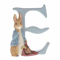 Enesco - Beatrix Potter, Peter Rabbit, Ceramic Letter E Peter Rabbit Figurine