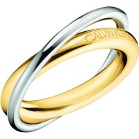 Calvin Klein - Stainless Steel With Yellow Gold Plating Ring, Size N