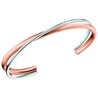 Calvin Klein - Stainless Steel and Rose Gold Plated Double Twist Bangle