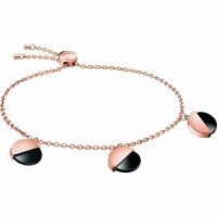 Calvin Klein - Spicy, Black Onyx Set, Rose Gold Plated Stainless Steel Bracelet, Size Adjustable