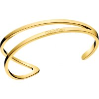Calvin Klein - Outline, Stainless Steel and PVD Yellow Gold Plate Open Bangle, Size Medium