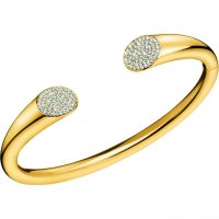 Calvin Klein - Crystals Set, Stainless Steel With Yellow Gold Plating Open, Bangle, Size M