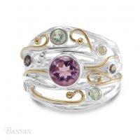 Banyan - Ladies , Amethyst, Lolite and Cubic Zirconia Set, Sterling Silver Ring, Size O