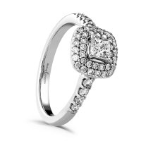 Guest and Philips- Diamond 0.77ct. Set, 18ct. White Gold Cluster Ring