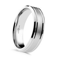 B and N - 18ct White Gold Wedding Band Ring, Size T