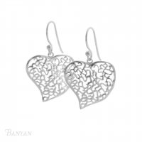 Banyan - Sterling Silver Lattice Heart Earrings