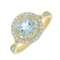 Guest and Philips - Aquamarine and Diamond 0.20pts Set, Yellow Gold - White Gold - 9ct Halo Ring, Size N