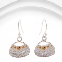 Banyan - Textured Silver with Gold Plate Detail Drop Earrings