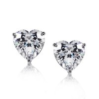 Carat London - Cubic Zirconia Set, 9ct White Gold Heart Shape Earrings, Size 1Carat