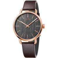Calvin Klein - Rose Gold Plated on a Brown Leather Strap Watch