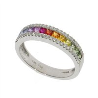 Guest and Philips  - 18ct White Gold Multi Coloured Eternity Ring Size N.5