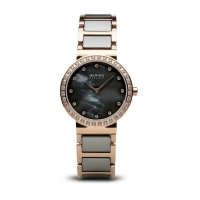 Bering - Ladies Ceramic, Swarovski Crystal Set, Stainless Steel With Ceramic and Rose Gold Plated Strap Watch