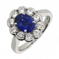 Guest and Philips - Platinum Sapphire and Diamond Set Cluster Ring Size N