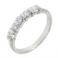Guest and Philips - Platinum and Diamond Set 5 Stone Eternity Ring Size O