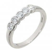Guest and Philips - 18ct Platimun and Diamond Set 5 Stone Eternity Ring Size N