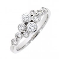 Guest and Philips - 18ct White Gold and Diamond Bubble Ring Size N