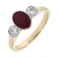 Guest and Philips - Diamond 0.35 Ruby 1.25ct Set, Yellow Gold - White Gold - 18ct 3 Stone Ring, Size O