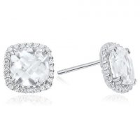 Waterford - CZ Set, Sterling Silver - - Cushion Earrinhs