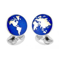 Deakin and Francis - Sterling Silver World Cufflinks - C1638S02