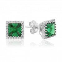 Waterford - Emerald Set, Silver Square Earrings