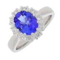 Guest and Philips - Platinum Tanzanite and Diamond Set Cluster Ring