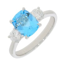 Guest and Philips - 18ct White Gold Blue Topaz and Diamond Set 3 stone ring