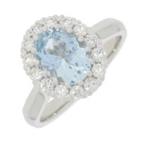 Guest and Philips - 18ct White Gold Aquamarine and Diamond Set Cluster Ring