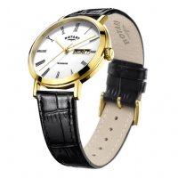 Rotary - Yellow Gold Plated Gents Brown Strap Watch