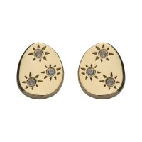 Unique - White Sapphire Set, Sterling Silver - Yellow Gold Plated - Stud Earrings